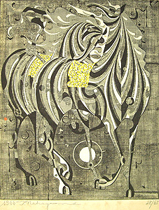 中山正「白いたてがみ」木版画