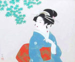 上村松園「若葉」版画シルクスクリーン43.5×52.5cm