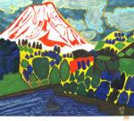 片岡球子「若さぎつり舟のある富士」版画45×52.5cm