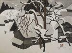 斎藤清「会津の冬(44)」木版画40×54cm