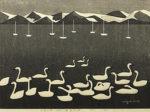 斎藤清「会津の冬(68)猪苗代湖」木版画38×52.5cm