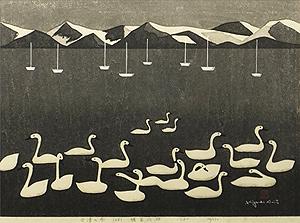 斎藤清「会津の冬(68)猪苗代湖」木版画