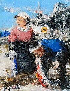 工藤和男「赤い魚と漁師」油彩