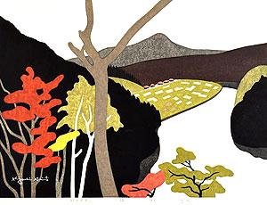 斎藤清「秋の只見川 下椿」木版画