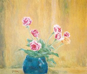 山下新太郎「薔薇」油彩