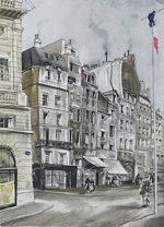 藤田嗣治「場末の街:魅せられし河」銅版画32×23.5cm
