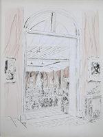 藤田嗣治「シャルパンティエのオークション」銅版画36.5×27.3cm