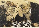 田中阿喜良「チェス」版画リトグラフ46.5×66.5cm