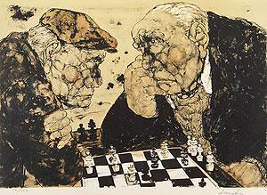 田中阿喜良「チェス」版画