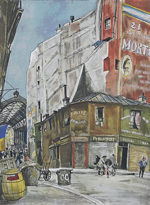 藤田嗣治「コルネーユ広場」銅版画手彩色32×23.5cm