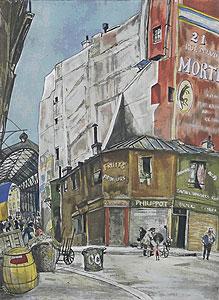 藤田嗣治「コルネーユ広場」銅版画手彩色