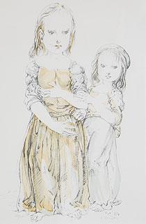 藤田嗣治「二人の少女」版画