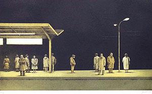 相笠昌義「駅にて・夜」銅版画