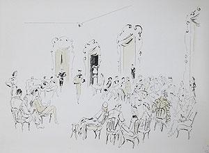 藤田嗣治「ファッションショー」銅版画