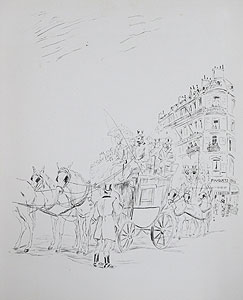 藤田嗣治「レストランフーケ」銅版画
