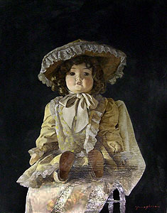 山下徹「フランス人形」油彩