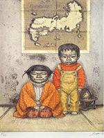 相笠昌義「冬・姉弟図」銅版画23×18cm
