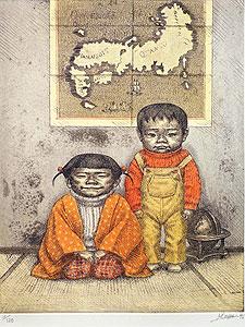 相笠昌義「冬・姉弟図」銅版画