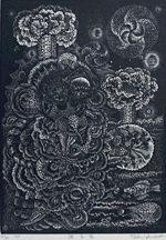 日和崎尊夫「原子花」木口木版画14×10cm