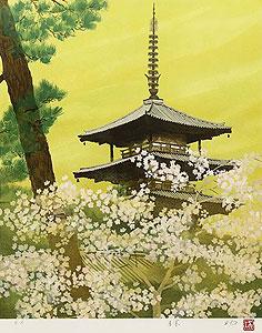 林功「花の時」版画