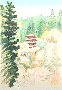 中根寛「長谷寺」版画