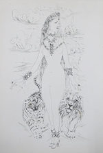 藤田嗣治「宝石の女:魅せられし河」銅版画35×23.5cm