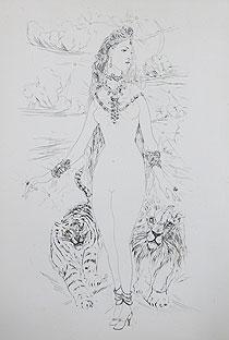 藤田嗣治「宝石の女:魅せられし河」銅版画