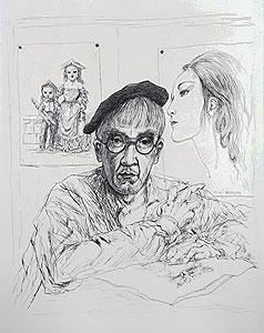 藤田嗣治「自画像:魅せられし河」銅版画