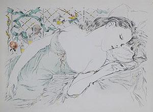 藤田嗣治「香りの夢:魅せられし河」銅版画