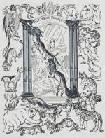 藤田嗣治「飾り文字:動物」銅版画12×9cm