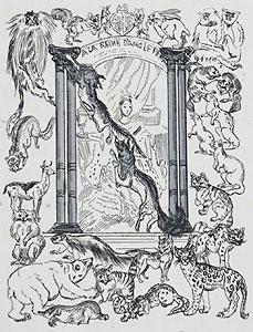 藤田嗣治「飾り文字:動物」銅版画