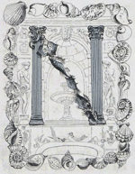 藤田嗣治「飾り文字:貝殻」銅版画12×9cm