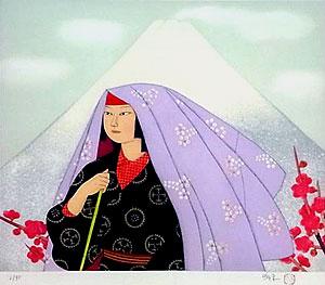 森田曠平「紅梅富士」銅版画