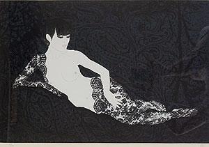 加山又造「レースをまとった人魚」版画
