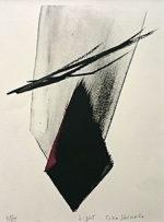 篠田桃紅「Light」版画リトグラフ手彩色30×23cm