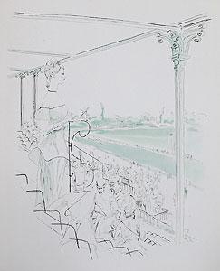 藤田嗣治「ロンシャン競馬場」銅版画