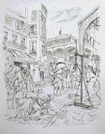 藤田嗣治「マラルメ広場」銅版画35.8×26.4cm