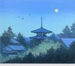 千住博「満月(法輪寺)」版画リトグラフ44.5×53cm