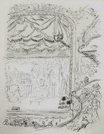 藤田嗣治「マリニー座:魅せられし河」銅版画36×22cm