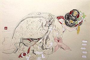 宮本三郎「松の内」木版画