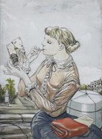 藤田嗣治「お針子娘」銅版画手彩色32.5×24cm