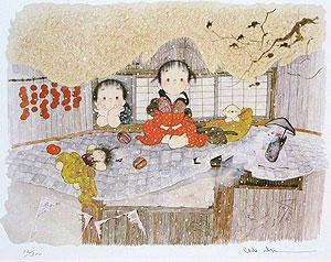 中島潔「想い雪」版画