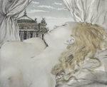 藤田嗣治「オペラ座の夢」銅版画手彩色23.2×28.5cm