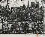 棟方志功「巴里河畔の柵」木版画28×37.5cm