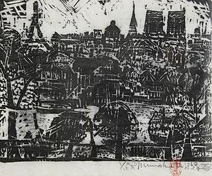棟方志功「巴里河畔の柵」木版画