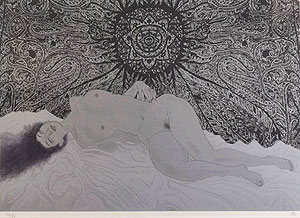 加山又造「裸婦95-A(黒)」版画