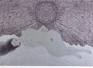 加山又造「裸婦95-A(紫)」版画
