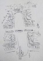 藤田嗣治「セーヌ河(中表紙)」銅版画32×23cm