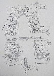 藤田嗣治「セーヌ河(中表紙)」銅版画