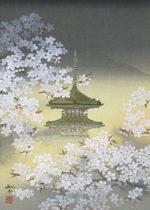 平川敏夫「塔境の四季・春風」木版画45×33cm